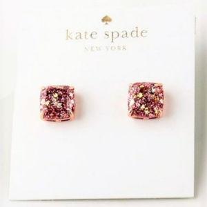 Kate Spade Rose Gold Glitter Stud Earrings